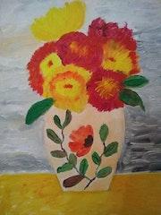 Tableau vase de fleurs. Still life.