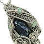 Black Biwa Stick Pearl Pendant with Ethiopian Welo Opals in Sterling Silver. Heather Jordan Jewelry