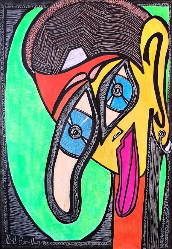 Masks Israeli art painter artist modern drawings. Mirit Ben-Nun Mirit Ben-Nun