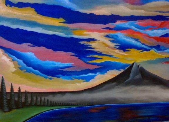 «Montaña y Lago» acrílico sobre tela. Luis Fernando Álvarez Santana Leon Xlll