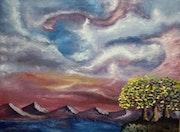 «Arboles y Mar» óleo sobre tela.