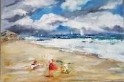 Jeux d enfants sur la plage.