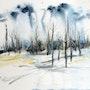 Arbres en hiver - aquarelle et encre sur papier. Aniko Hencz