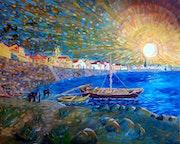 Les bords du Rhône d'après dessin de Vincent Van Gogh.