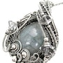 Celestite Wire-Wrapped Pendant with Herkimer Diamonds in Sterling Silver. Heather Jordan Jewelry