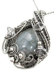 Celestite Wire-Wrapped Pendant with Herkimer Diamonds in Sterling Silver.
