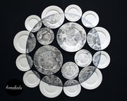 Moon wall art, Decorative plate collage, Celestial decor, Full moon phases. Anna Bekh
