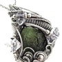 Moldavite Pendant with Herkimer Diamonds, Wire-Wrapped in Sterling Silver. Heather Jordan Jewelry