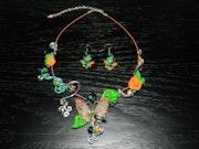 Parure collier - boucle d'oreilles - Papillon orange - vert.