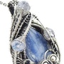 Blue Kyanite Pendant with Rainbow Moonstone, Wire-Wrapped in Sterling Silver. Heather Jordan Jewelry