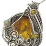 Baltic Amber Pendant with Gnat Inclusion and Ethiopian Opals, in Sterling Silver. Heather Jordan Jewelry
