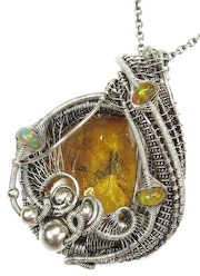 Baltic Amber Pendant with Gnat Inclusion and Ethiopian Opals, in Sterling Silver.