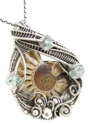 Ammonite Pendant with Aquamarine, Wire-Wrapped in Sterling Silver.