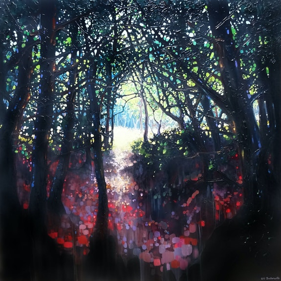 Epiphany, a large oil painting of a woodland path.  Gill Bustamante - Artist