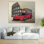 Ferrari in front of Colosseum on aluminum sheet with gold leaf. Acrylwolle