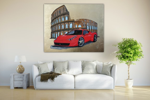 Ferrari in front of Colosseum on aluminum sheet with gold leaf. Wolfgang Bröder Acrylwolle
