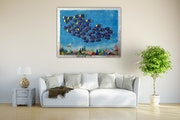 Underwater landscape with school of fish in 3d refined with silver leaf. Acrylwolle