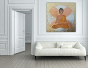Sitting buddah refined with gold leaf, leaf syllable, copper leaf. Acrylwolle
