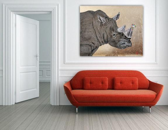Rhinocéros avec grenouille sous-locataire raffinée à la feuille d'or. Wolfgang Bröder Wolfgang Bröder