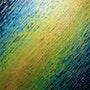 Pintura abstracta : Textura de cuchillo de oro verde azul iridiscente.. Jonathan Pradillon