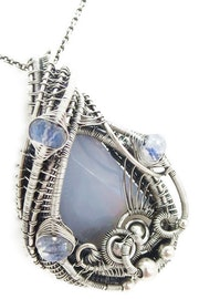 Blue Lace Agate Pendant with Rainbow Moonstone in Sterling Silver.