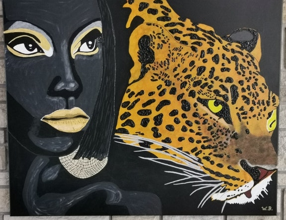 Leopard with woman painted on stretcher. Wolfgang Bröder Acrylwolle