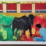 Awe of the bull painted abstract. Wolfgang Bröder