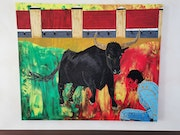 Awe of the bull painted abstract.