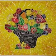 Panier de fleurs avec peinture acrylique sur lin. Wolfgang Bröder