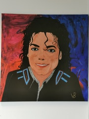 Portrait of Michael Jackson painted with acrylic paint on a canvas stretcher.