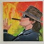 Portrait of Udo Lindenberg in acrylic paint, with original signature by Udo. Wolfgang Bröder