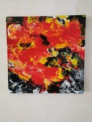 Peinture acrylique respectueuse des couleurs technique mixte peinte sur une civi.