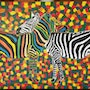 Zebra love picture painted in acrylic paint on linen.. Acrylwolle