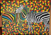Zebra love picture painted in acrylic paint on linen..