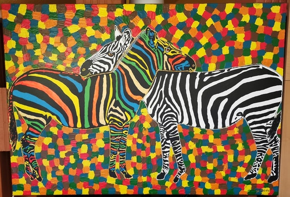 Zebra love picture painted in acrylic paint on linen.. Wolfgang Bröder Wolfgang Bröder