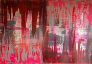 Acryl abstrakt gemälde leinwand 70x100cm rot grau. Brigitte Knoop