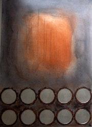 Abstrakt original gemälde 3d relief industrie design 70x100 cm rund. Brigitte Knoop