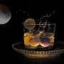 La lune et les billes.