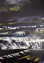 Peinture huile nuit wave2.