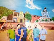 Famille devant le temple de Koneswaram.