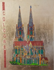 Cologne Cathedral painted on aluminum sheet with acrylic paint and gold leaf ref. Acrylwolle