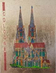 Cathédrale de Cologne peinte sur feuille d'aluminium avec peinture acrylique et.