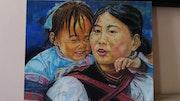 Mère et sa fille. Antonia Martin Romo Antonia
