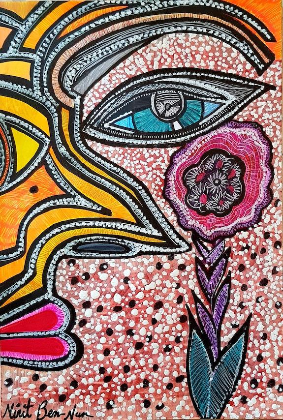 Artists from Israel face and flower woman painter. Mirit Ben-Nun Mirit Ben-Nun