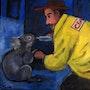 Koala and Fireman. Www.jotuck.com