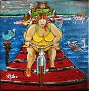 Série «Ballade au banc d'Arguin» Acrylique /toile de Thibo 20/20cm «Le retour».