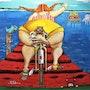 «Le Petit Marché» Série du Bassin n°4 peinture acrylique sur toile. Thibo