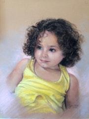 Petite fille au pastel sec.