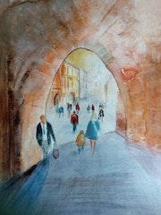 A day in krakow original watercolour painting. Postmancanpaint Artwork By Trevor Partridge