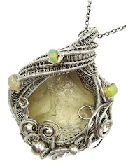 Libyan Desert Glass Pendant in Sterling Silver with Ethiopian Welo Opals.